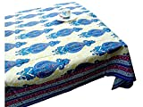 LinenTablecloth 60 x 86-Inch Rectangular Cotton Tablecloth -Green Blue Table cloth 6 Seater- Thanksgiving Wedding Dining Room Rectangle Party Tablecloths for Rectangle Tables