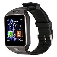 Reloj inteligente Bluetooth con cámara Padgene DZ09 para Samsung S5 /Note 2/3 /4, Nexus 6, HTC, Sony y otros teléfonos inteligentes Android (negro (banda negra))