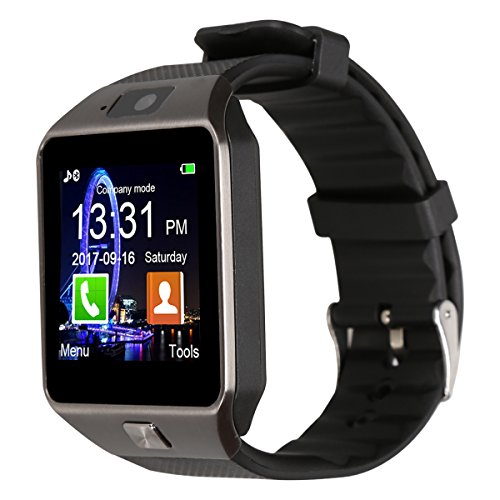 Padgene DZ09 Bluetooth Smart Watch with Camera for Samsung S5 / Note 2/3 / 4, Nexus 6, HTC, Sony and Other Android Smartphones (Black (Black Band))