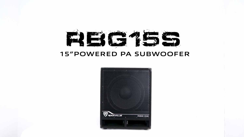 "Rockville RBG15S 15/"" 1600w Active Powered PA Pro//DJ DSP Subwoofer+Steel Casters"