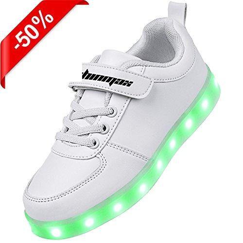 Shinmax Allument Des Chaussures, Chaussures Led Led Sneakers Respirant 7 Couleurs Chaussures Légères Pour Hommes Et Femmes, Chaussures Enfant Blanc1