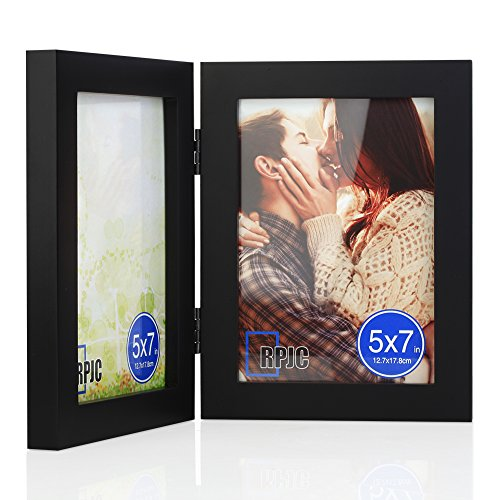5x7 Soild Wood Double Picture Frames with High Definition Glass For Table Top Display Photo frames - Solid Wood Tabletop