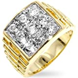 CZ Ring For Men - Classic Goldtone 9 Round CZ Ring