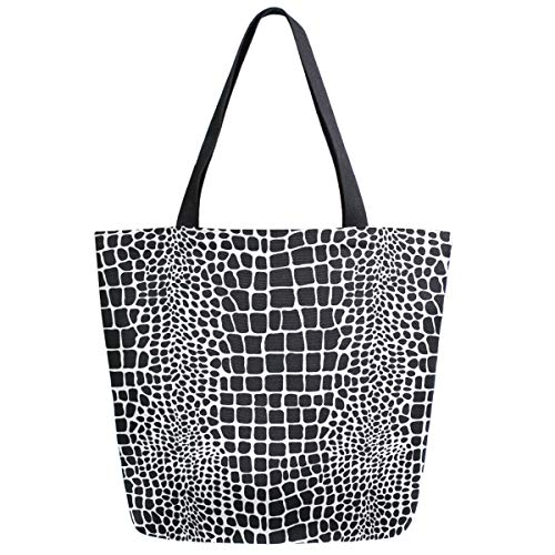 ZzWwR Fashion Python Snake Skin Print Extra Large Canvas Shoulder Tote Top Handle Bag for Gym Beach Weekender Travel Shopping,Black White