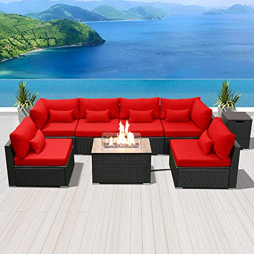 Modenzi Outdoor Sectional Patio Furniture with Propane Fire Pit Table Espresso Brown Wicker Resin Garden Conversation Sofa Set (G7 Sofa Rectangular Fire Pit, Red) (Fire Pit Conversation Propane Sets With Patio)