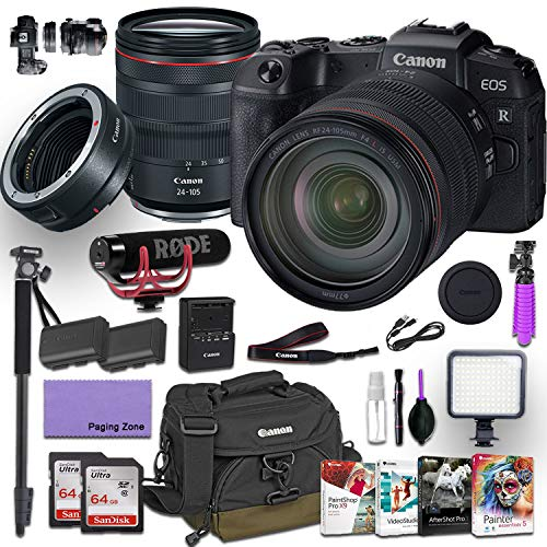 Canon EOS RP Mirrorless Digital Camera with RF 24-105mm f/4L is USM Lens and Canon Mount Adapter EF-EOS R kit Bundled w/Deluxe Accessories (Rode Microphone, 4-Pack Photo Editing Software and More)