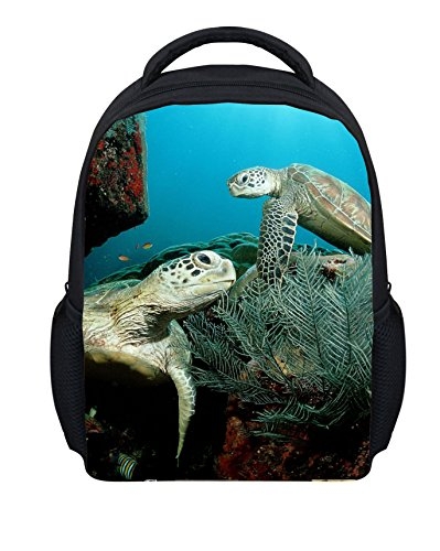 rtle Kids Backpack Schoolbag Book Bag Satchel (Color Back Sea Turtle)