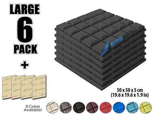 Arrowzoom New 6 Pack Of  19 6 In X 19 6 In X 1 9 In  Soundproofing Insulation Mushroom Hemisphere Grid Type Acoustic Wall Foam Padding Studio Foam Tiles Az1040  Black