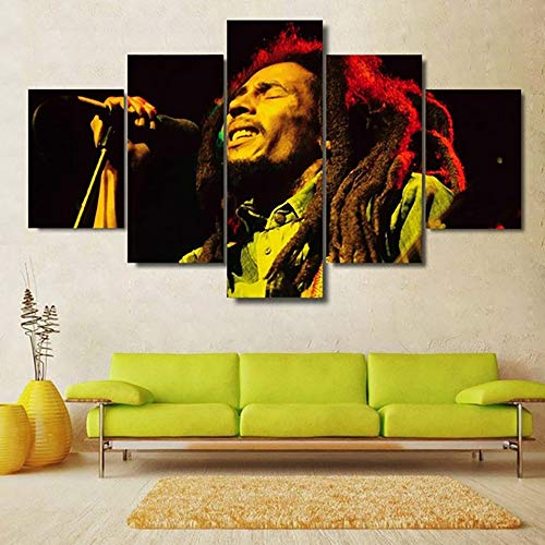 (HTTY 5 Panel Print On Canvas Singer Bob Marley Wall Art HD Printed Pictures for KTV Bar,B,20×35×2+20×45×2+20×55cm×1)