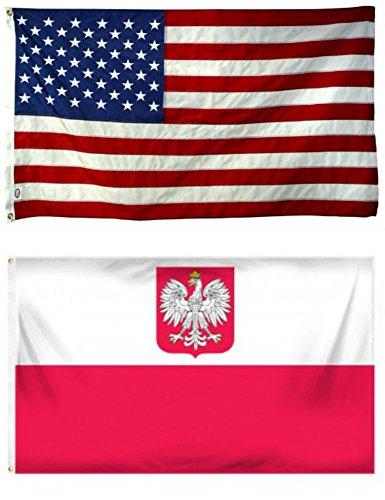 3x5 3'x5' Wholesale Combo USA American & Poland Polish Eagle Flag Grommets American Eagle Garden