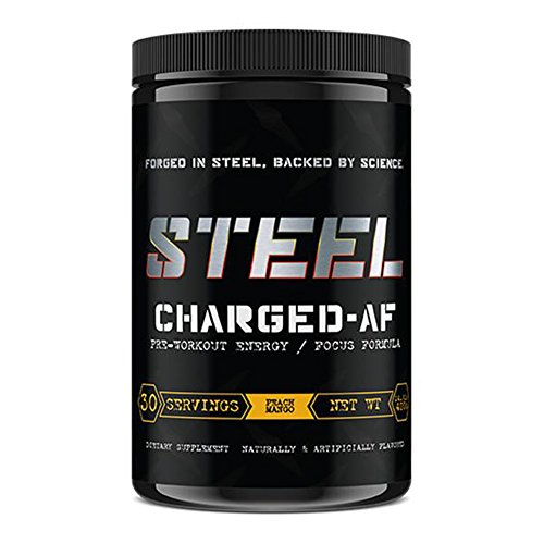 Protein Energizer Low Fat Shake (Steel Supplements Charged-AF Pre Workout Powder Energy Drink with Vitamins B6 and B12 High Intensity 30 Servings (Peach Mango))