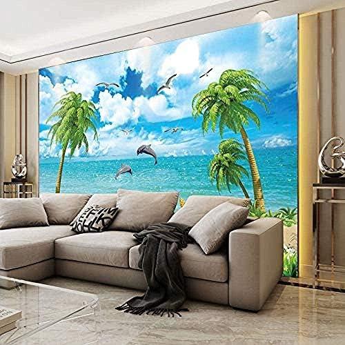 3d Mural Sea View Beach Coco Dolphin Wallpaper Living Room Hall Balcony Mediterranean Sea Wallpaper Wall Cloth Wall Decoration Photo Wallpaper 3d Wallpaper Effect Silk Mural Bedroom 350x245cm