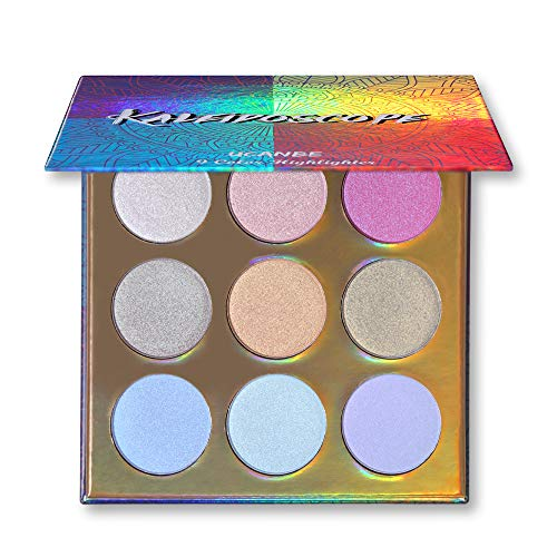 Holographic Shimmer - UCANBE KALEiDOSCOPE Highlighter Powder Makeup Palette, High Pigment Holographic Duo-chrome Shimmer Highlighting Bronzer Glow Easy to Apply Pallets Set