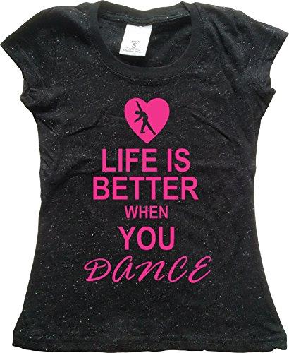 - Orange Arrow Glitter Dance Youth (L, Blck GLIT) - Life Is Better When You Dance - Tshirt