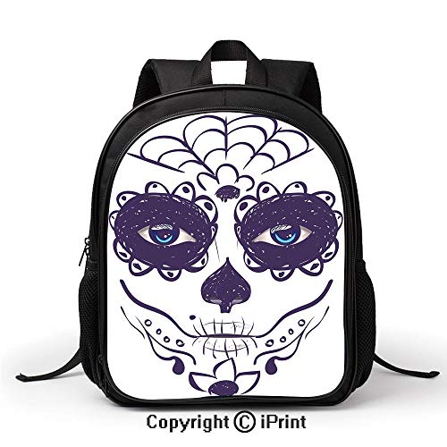 Children's Campus School Bag Dia de Los Muertos Sugar Skull Girl Face with Mask Make up Backpack :Suitable for Men and Women,School,Travel,Daily use,etc,Black White and Blue ()
