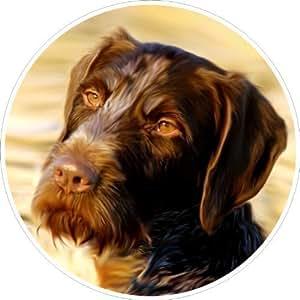 Pegatina de perro para Coche, Braco alemán de pelo duro, D=10cm