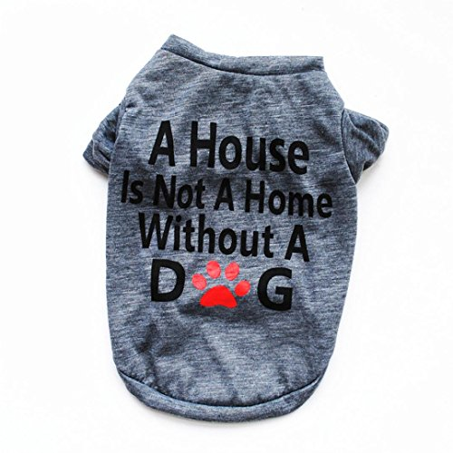 Dog Petsmart Tags (kaifongfu Pet T-shirt Cotton Summer Shirt for Small Dog Cat Pet Vest T Shirt Clothes with Letter (L, Gray))