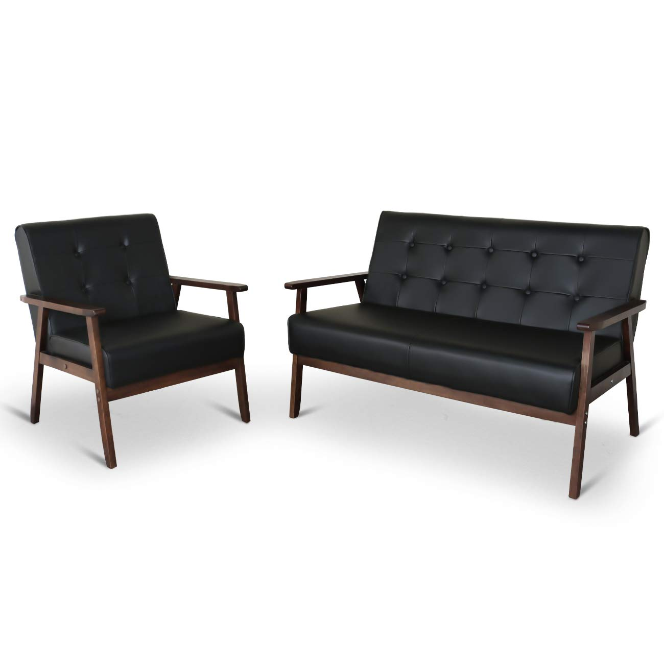 Mid-Century Retro Modern Living Room Sofa Set with Loveseat and Seating Sofa Chair, Couch and Lounge Chairs by JIASTING