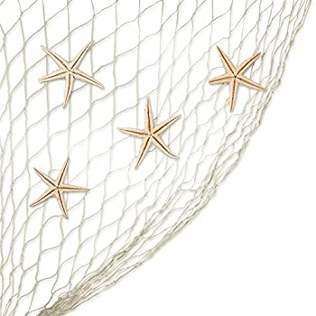 Natural Fish Net with Real Starfish - Perfect Accents for Candle Making Home Decorations, Beach Theme Party Wedding Decor, DIY Crafts, Fish Tank and Vase Fillers