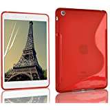 iPad Mini Case - Red S-Line Silicone Gel Back Cover for iPad Mini 1st Generation, Screen Protector Included