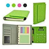 """Newest PU Leather 6 Ring Binder Executive Personal Organisers Business Multifunction Ruled Notebook With Solar Power Calculator and Card Slot 7""""(7-1/4""""x5-1/2""""x1-1/4"""")"""