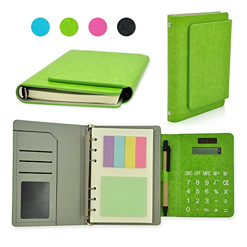 Newest PU Leather 6 Ring Binder Executive Personal Organisers Business Multifunction Ruled Notebook With Solar Power Calculator and Card Slot 7