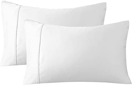 Pack of 2 in White Hypoallergenic Bamboo pillow cases 100/% Bamboo