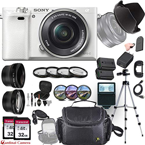Sony Alpha a6000 (White)E-Mount Mirrorless Camera with Sony E 16-50mm f/3.5-5.6 OSS Lens + Professional Accessory-Kit Bundle