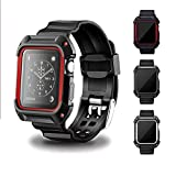 Apple Watch Case Series 2 Series 1, BESTeck Rugged Protective Case with Strap Bands for Apple Watch Series 2 Series 1 Sport Edition 42mm (Black+Red)