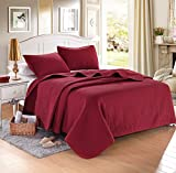 """Burgundy Solid Color Quilt 90""""L-102""""W, 2 Shams 20""""L-26""""W (inner 19""""-25""""). Hypoallergenic, Finely Stitched, All Season, Coverlet, Bed-cover, Washable, Durable"""