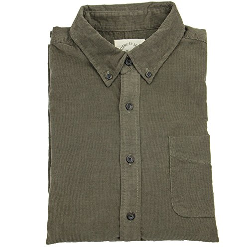 bii-free-mens-casual-shirts-100cotton-corduroy-shirt-large-green
