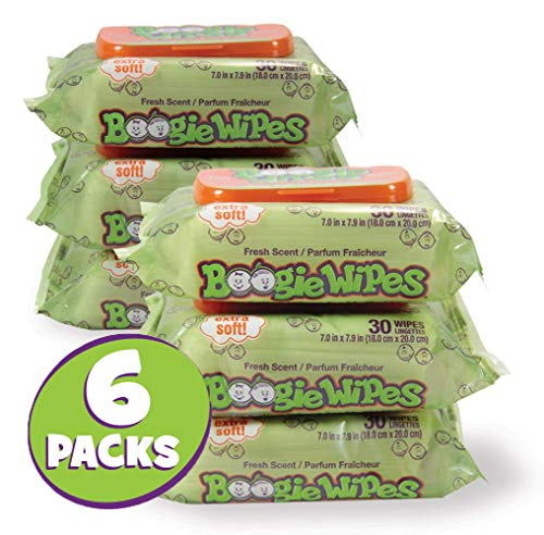 Boogie Wipes 30 Count/Pack of 6, Soft Natural Saline Wet Tissues for Baby and Kids Sensitive Nose, Hand and Face with Moisturizing Aloe, Chamomile and Vitamin E, Fresh Scent