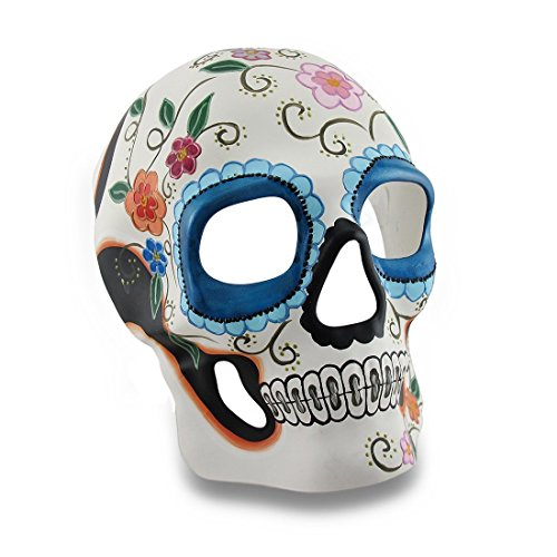 Colorful White and Blue Floral DOD Sugar Skull Style Halloween Mask