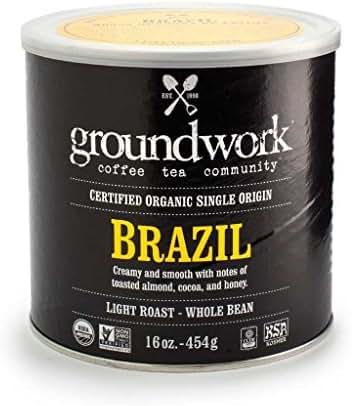 Groundwork Organic Whole Bean Light Roast Coffee, Brazil, 16 Ounce Can