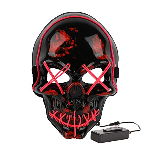 Halloween Costume Festival Parties Scary Mask LED Light Up Masks (Skull Pink) -