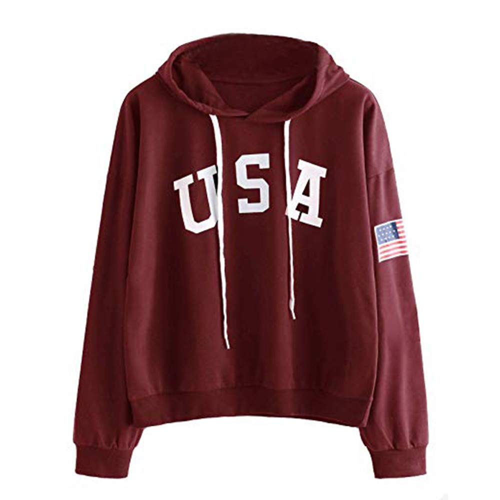 Lazzboy Womens Hoodie USA Flag Letter Print Sport Sweatshirt Solid Long Sleeve Hooded Hip Pop Tops Blouse