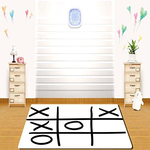 HAIXIA Rugs Xo Decor Tic Tac Toe Pattern Unfinished Game Hobby Theme Alphabet Minimalist Artful Image Decorative Black White