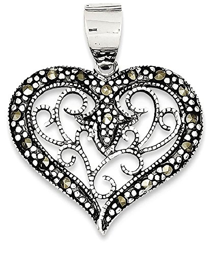 ICE CARATS 925 Sterling Silver Marcasite Heart Pendant Charm Necklace Love Fine Jewelry Gift Set For Women (Marcasite Set Necklace)