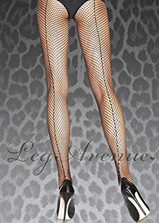 03c104149c014 Image Unavailable. Image not available for. Colour: MagicBox Womens Plus  Size Black Back Seamed Fishnet Tights