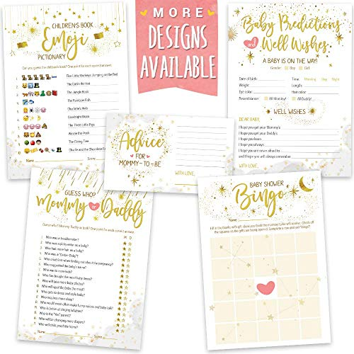 Baby Shower Games - Gender Neutral | 5 Activities for 50 Guests, 5x7 Cards | Baby Predictions, Baby Bingo, Emoji, Advice, Mommy or Daddy | Gender Reveal Party Supplies -