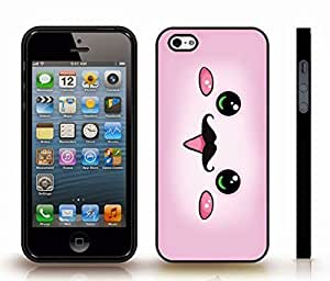 Case For Iphone 5/5S Cover with Cute Pink Animated Face with Mustache Design , Snap-on Cover, Hard Carrying Case (Black)