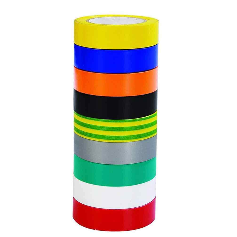 Insulating Tape 9 Pack 9 Color Electrical Tape 0.67 Inch 20M PVC Insulation Tape 65 Feet SACONELL