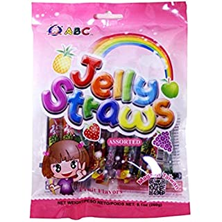ABC Assorted Fruit Jelly Filled Strip Straws - Many Flavors! (9.1 oz)