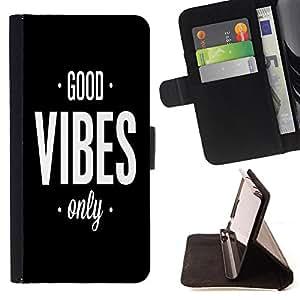 - Good Vibes - - Monedero PU titular de la tarjeta de cr?dito de cuero cubierta de la caja de la bolsa FOR Samsung Galaxy S5 V SM-G900 Retro Candy