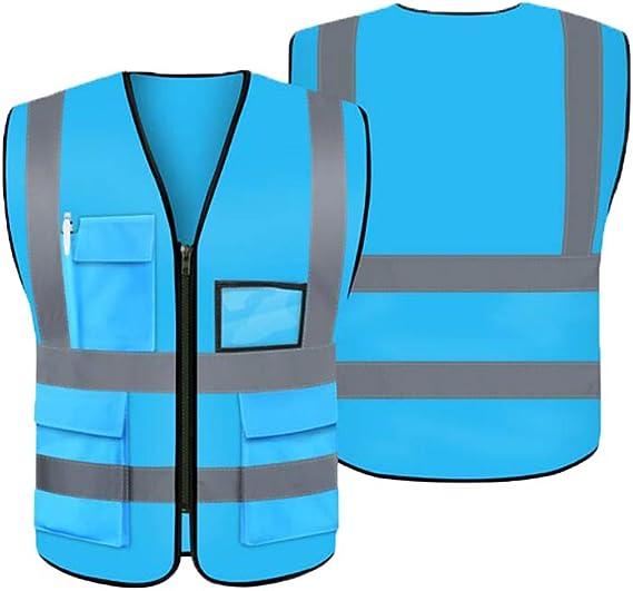LUOSFUH Haute visibilit/é Gilet de s/écurit/é r/éfl/échissant v/êtements de Travail de Protection en Plein air Gilet