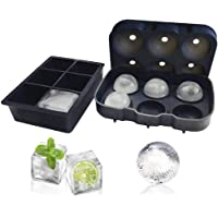 Silicone Ice Sphere Round Ball Mould + Large Square Ice Cube Tray - Set of 2 | Perfect for Whiskey Drinks and Cocktails
