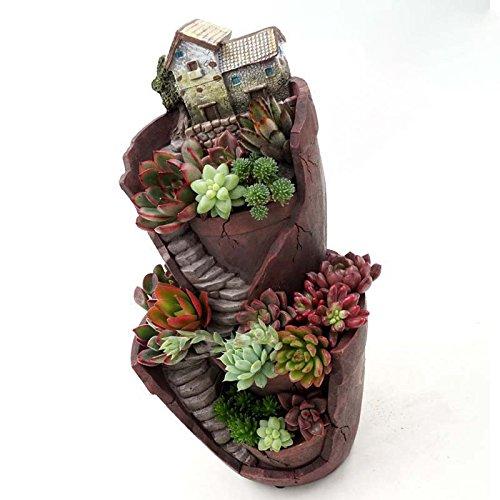 Fairy Garden Resin Flower Pot Succulent Plants Pot Garden Bonsai Planter Micro Landscape Flowerpot