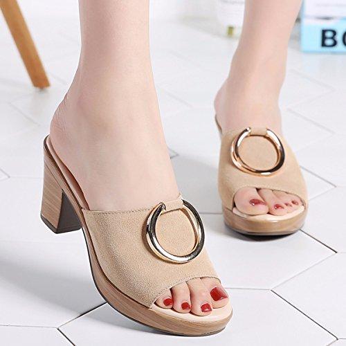 QPSSP Zapatillas De Fondo Grueso Zapatillas, Sandalias De Tacon, Zapatos De Mujer. Beige