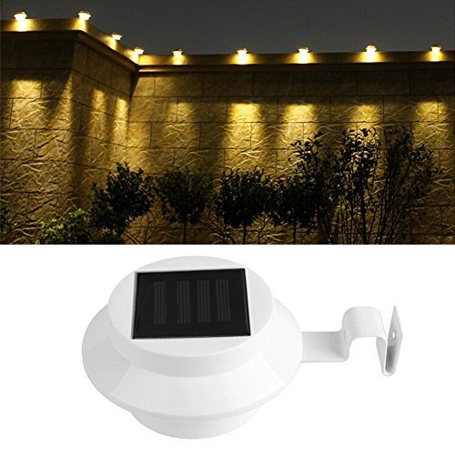 SCASTOE Solar Power Outdoor Garden Yard Wall Waterproof LED Light Gutter Fence Wall Lamp with Bracket