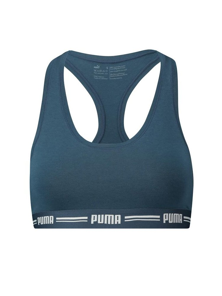TALLA 38. PUMA Women Gold Logo Cross Back BRA Tank Top SPORT-BH Bustier training